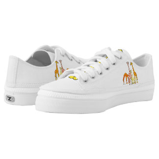 Giraffe Family In Orange and Yellow Lowtop Shoes Printed Shoes