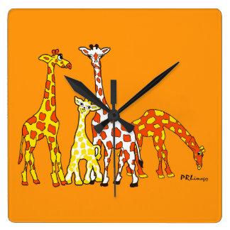 Giraffe Family In Orange and Yellow Wall Clock