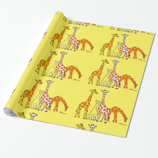 Giraffe Family In Orange and Yellow Wrapping Paper
