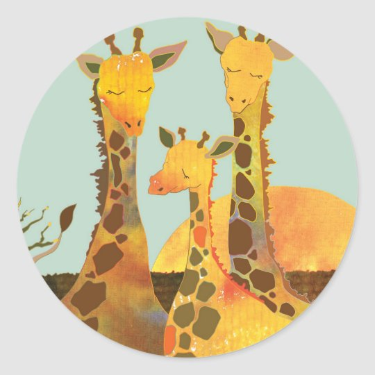 Giraffe Family Love Classic Round Sticker