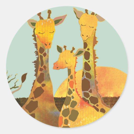 Giraffe Family Love Round Sticker