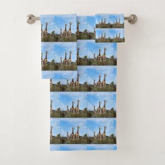 Giraffe Family On Grassy Hilltop Bath Towel Set