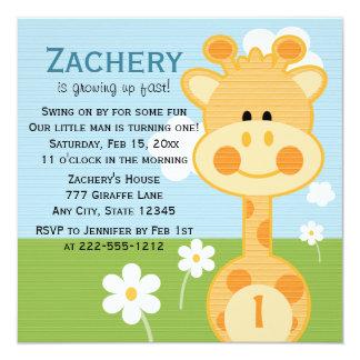Giraffe First Birthday (Custom Any Age) Invitation 13 Cm X 13 Cm Square Invitation Card
