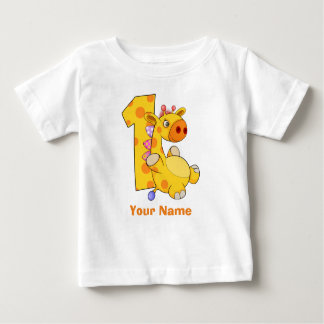 Giraffe First Birthday Custom Baby T-Shirt