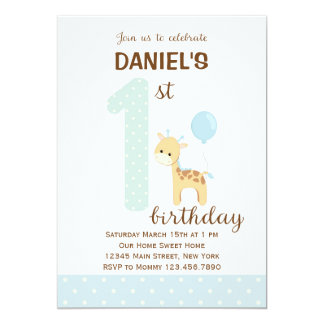 Giraffe First Birthday Invitation (Blue)