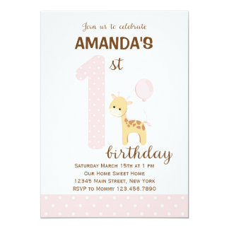 Giraffe First Birthday Invitation (Pink)