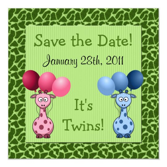 Giraffe Fraternal Twins Baby Shower Save the Date