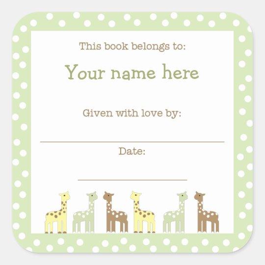 Giraffe Friends Baby Shower Book Plate Neutral Gen