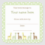 Giraffe Friends Baby Shower Book Plate Neutral Gen Square Stickers