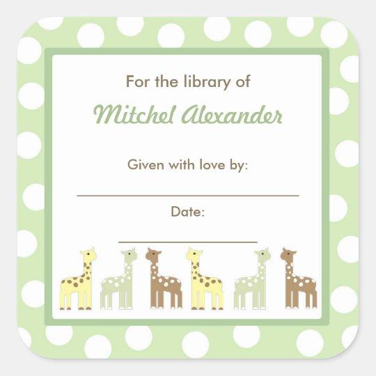 Giraffe Friends Baby Shower Bookplate book plate Square