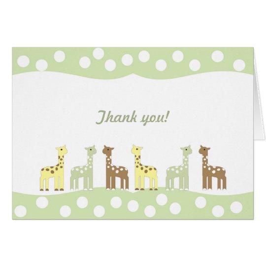 Giraffe Friends Baby Shower Thank You Note neutral