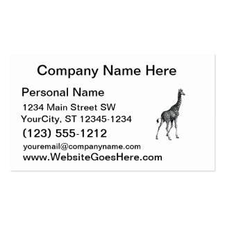 Giraffe full body animal vintage drawing design business card template