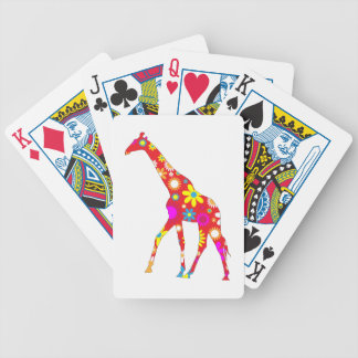 Giraffe funky floral retro flowers colorful fun bicycle playing cards