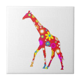 Giraffe funky retro floral flowers tile, trivet small square tile