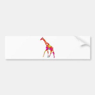Giraffe Funky retro floral flowery bumper sticker