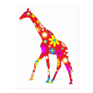 Giraffe Funky retro floral flowery flower postcard