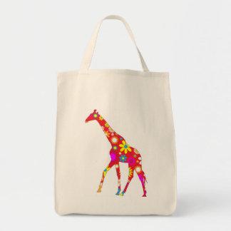 Giraffe Funky retro floral flowery flower tote bag