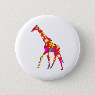 Giraffe Funky retro floral flowery flowers pin