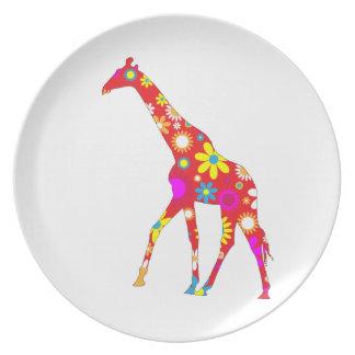 Giraffe funky retro floral flowery fun dish plate