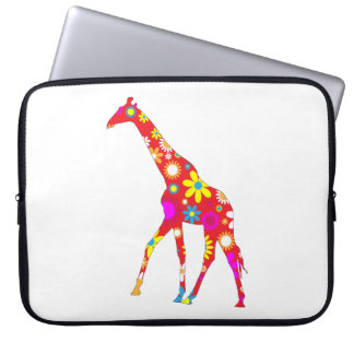 Giraffe funky retro floral flowery fun laptop bag
