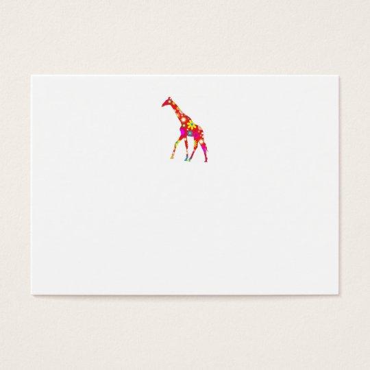 Giraffe Funky retro floral fun business card