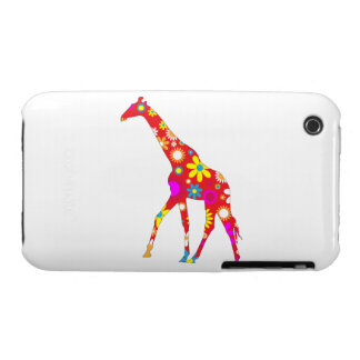 Giraffe funky retro floral iphone 3G case barely iPhone 3 Covers