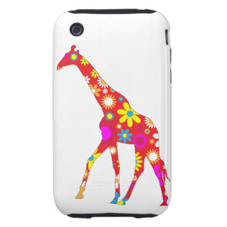 Giraffe funky retro floral iphone 3G case tough iPhone 3 Tough Cases