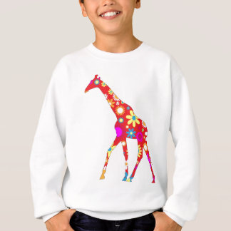 Giraffe Funky retro floral kids sweatshirt
