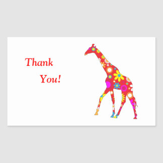Giraffe Funky retro floral thank youstickers Sticker