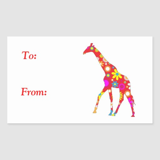Giraffe Funky retro floral to, from stickers