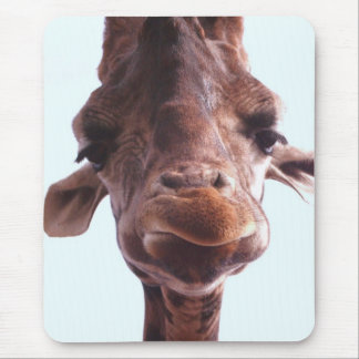 Giraffe Funny Face Mouse Pad