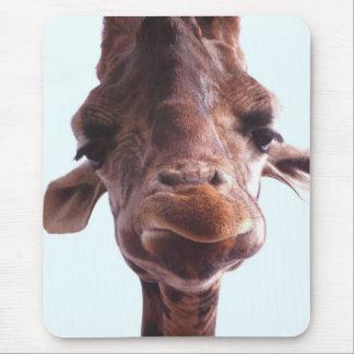 Giraffe Funny Face Mouse Pad