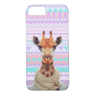 Giraffe Funny with Pastel Aztec Tribal iPhone 7 Case