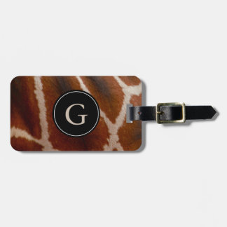 Giraffe Fur Monogrammed | Wild Jungle Animal Print Luggage Tag