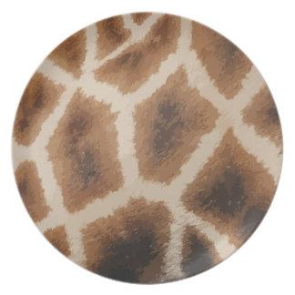 Giraffe Fur  Pattern - animal skin Party Plates