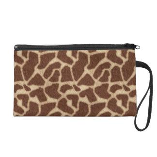 Giraffe fur pattern wristlet purse
