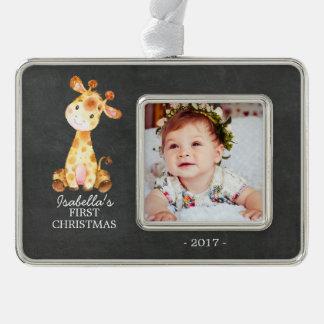 Giraffe Girl Baby's First Christmas Photo Ornament
