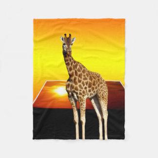 Giraffe Golden Sunset, Small Fleece Blanket