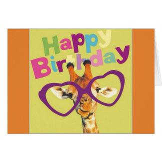 Giraffe Happy Birthday Card