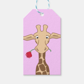 Giraffe holding a Rose Gift Tags