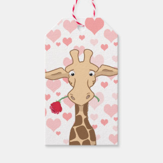Giraffe Holding a Rose & Pink Hearts Gift Tags