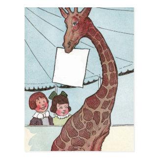 Giraffe Holding Sign Under the Big Tent Postcard