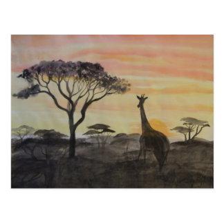 Giraffe in African Sunset Postcard