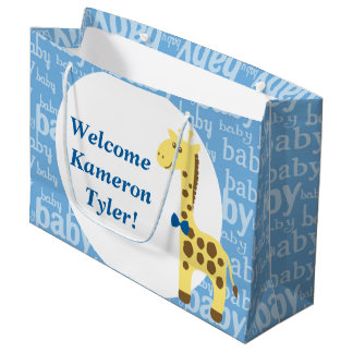 Giraffe in Blue Bow Baby Shower for Boy Large Gift Bag
