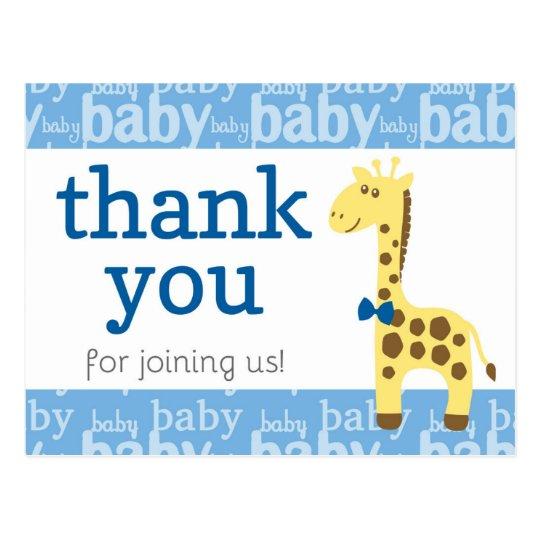 Giraffe in Blue Bow Baby Shower for Boy