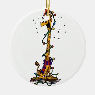 Giraffe in lights on sled christmas ornament