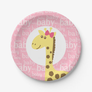Giraffe in Pink Bow Baby Shower for Girl 7 Inch Paper Plate
