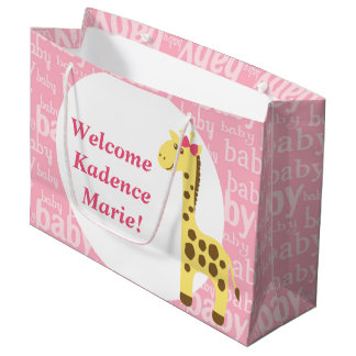 Giraffe in Pink Bow Baby Shower for Girl Large Gift Bag