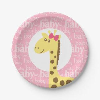 Giraffe in Pink Bow Baby Shower for Girl Paper Plate