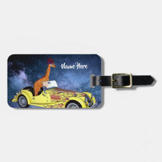 Giraffe in Space Funny Art Custom Luggage Tag